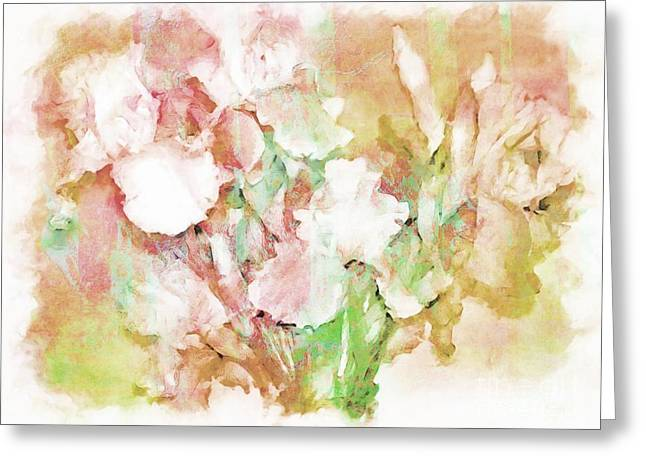 Soft Pink Iris Photo Art Greeting Card by Debbie Portwood