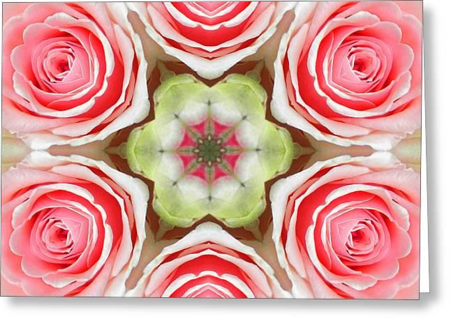 Soft Pink Rose Mandala Greeting Card