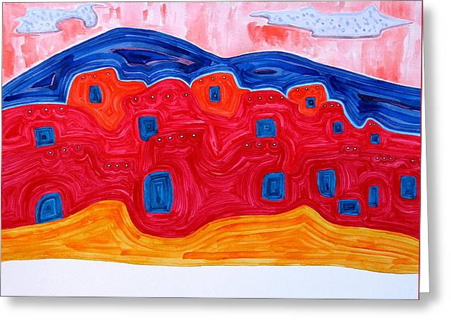 Soft Pueblo Original Painting Greeting Card