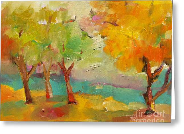 Soft Trees Greeting Card by Michelle Abrams