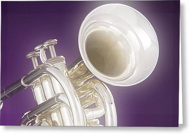 Soft Trumpet On Purple Greeting Card by M K  Miller