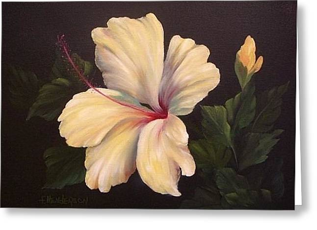 Soft Yellow Hibiscus Greeting Card by Francine Henderson