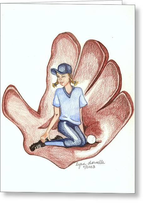 Softball Greeting Card by Lynn Darnelle