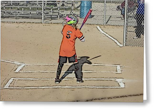 Softball Star Greeting Card by Michael Porchik
