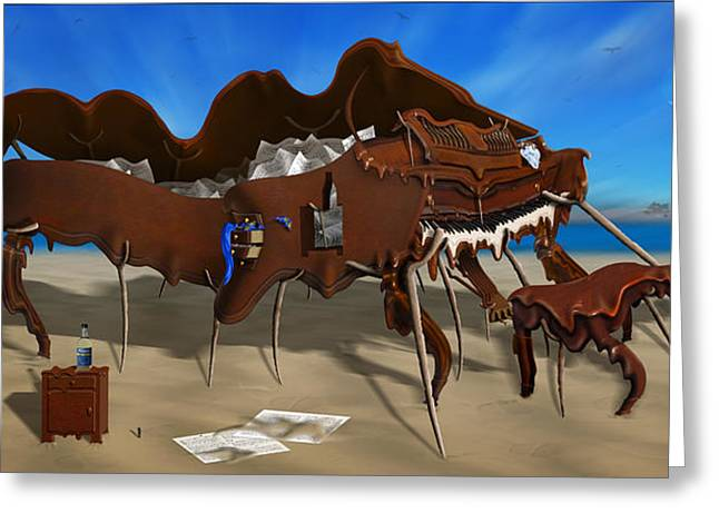 Softe Grand Piano Left Handed Panoramic Greeting Card by Mike McGlothlen