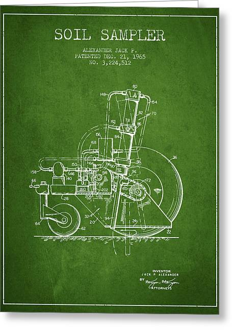 Soil Sampler Machine Patent From 1965 - Green Greeting Card by Aged Pixel
