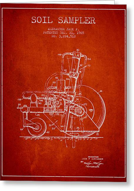 Soil Sampler Machine Patent From 1965 - Red Greeting Card by Aged Pixel