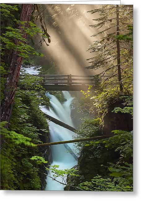 Sol Duc Falls Greeting Card by Ryan Manuel