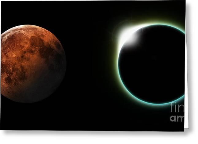 Solar And Lunar Eclipses Greeting Card by Antony McAulay