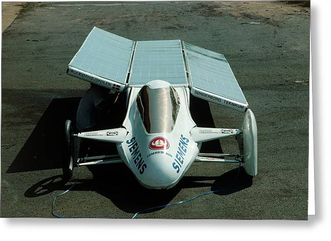 Solar Car Entrant For World Solar Challenge '87 Greeting Card by Peter Menzel/science Photo Library