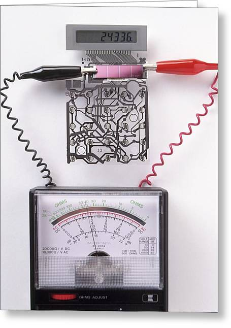Solar Cell Inside A Calculator Greeting Card by Dorling Kindersley/uig