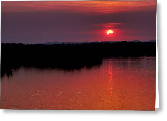 Greeting Card featuring the photograph Solar Eclipse Sunset by Jason Politte