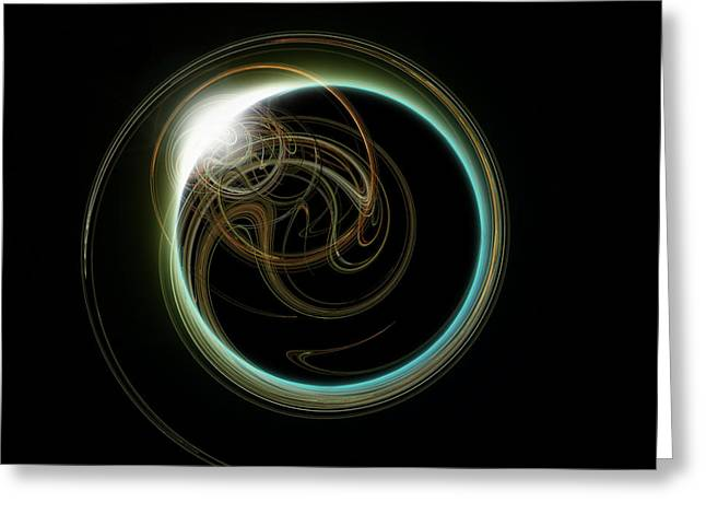 Solar Eclipse With Fractal Greeting Card by Antony McAulay