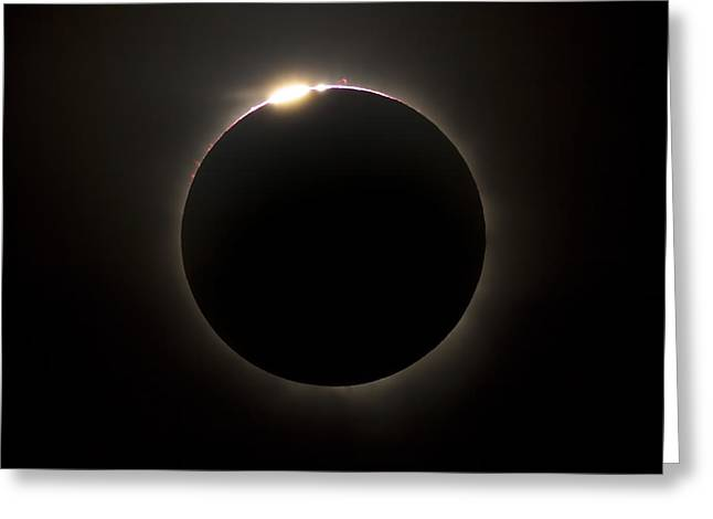 Solar Eclipse With Prominences Greeting Card by Philip Hart