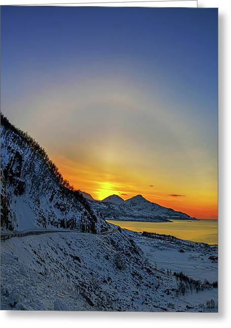 Solar Halo And Sun Pillar At Sunset Greeting Card