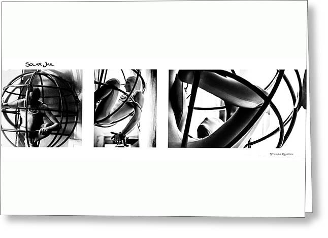 Greeting Card featuring the photograph Solar Jail Triptych by Stwayne Keubrick