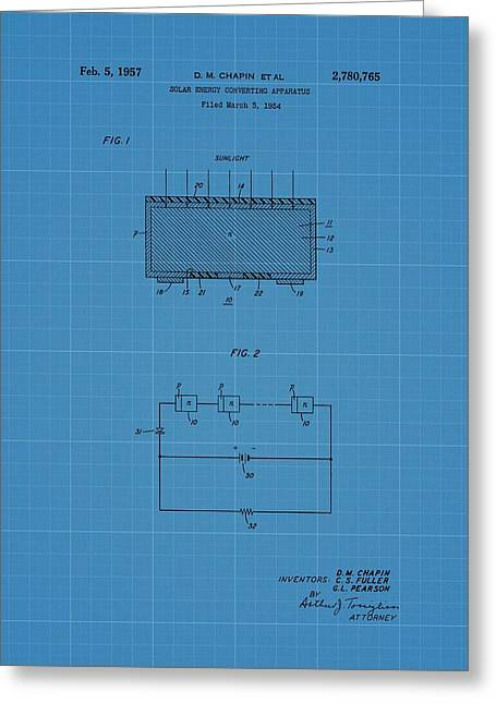 Solar Panel Blueprint Patent Greeting Card by Dan Sproul