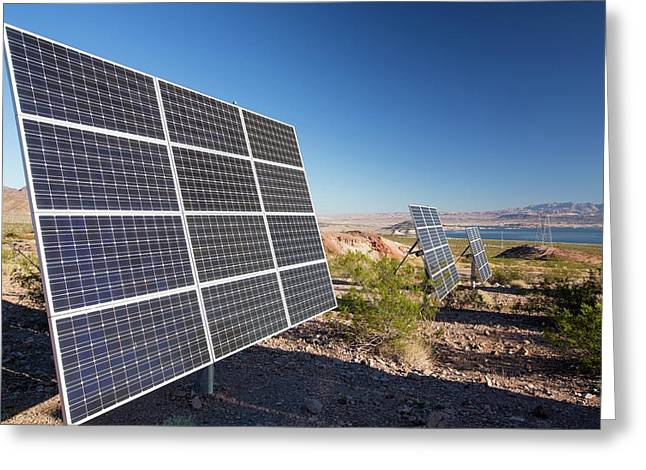 Solar Panels Next To A Church Greeting Card by Ashley Cooper
