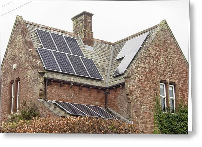 Solar Panels On A House Greeting Card
