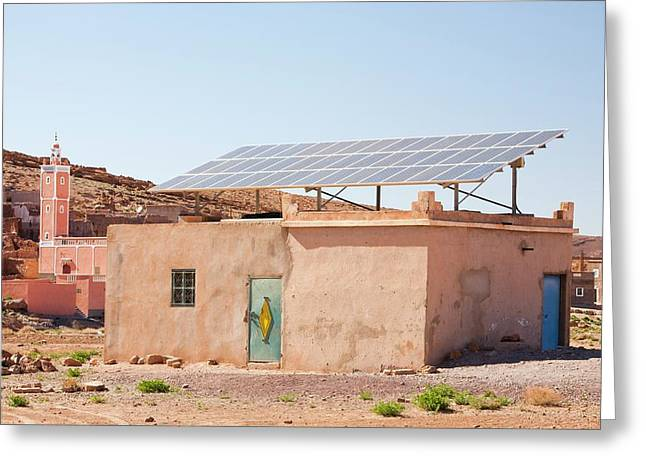 Solar Panels On A House Roof Greeting Card by Ashley Cooper