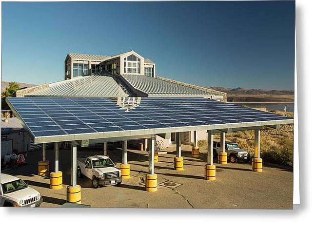 Solar Panels On Mono Lake Visitor Centre Greeting Card