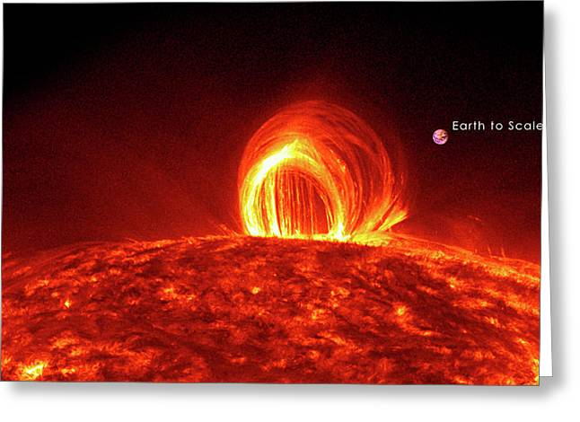 Solar Plasma Loops And Earth To Scale Greeting Card by Solar Dynamics Laboratory/nasa