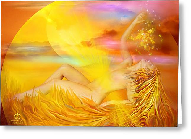 Solar Plexus Goddess Greeting Card by Carol Cavalaris