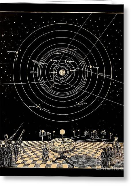 Solar System Diagram Circa 1855 Greeting Card by Asa Smith