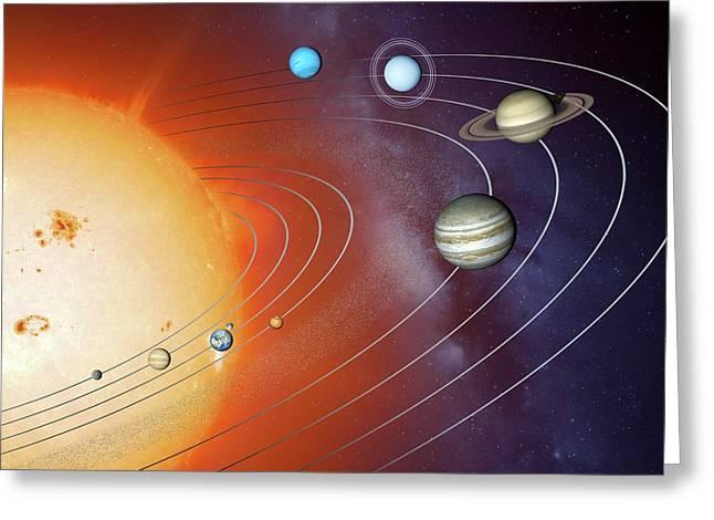 Solar System Orbits Greeting Card