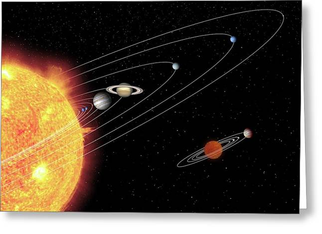 Solar Systems Compared Greeting Card