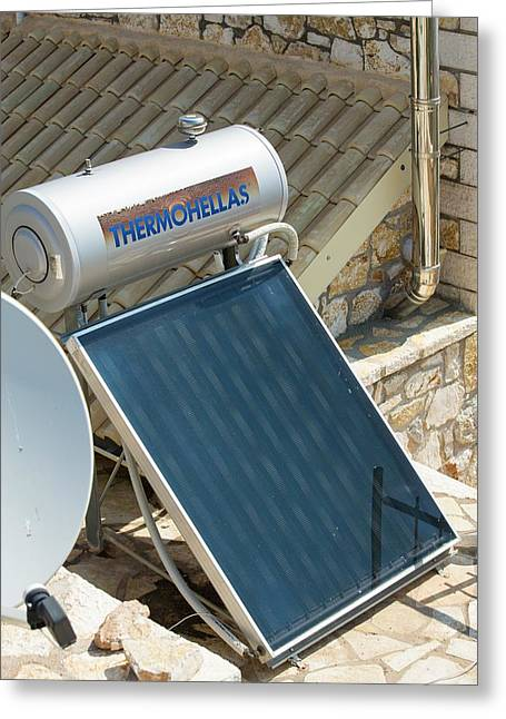 Solar Thermal Panels On A House Roof Greeting Card
