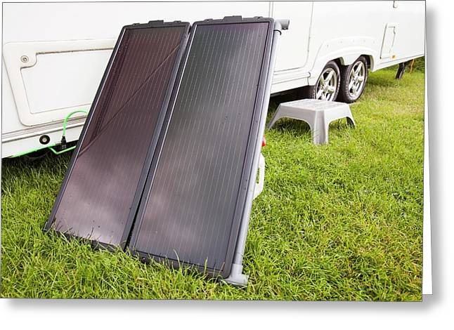 Solar Water Heating Attached To A Caravan Greeting Card by Ashley Cooper