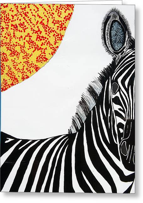 Solar White Zebra Greeting Card by Patrick OLeary