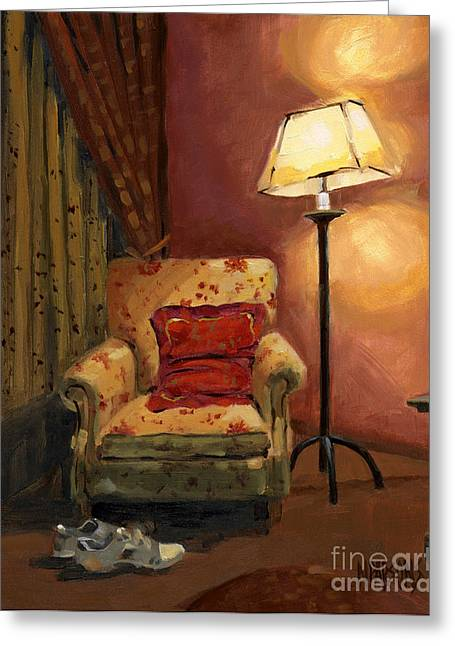 Greeting Card featuring the painting Sold - And Sit Right Down by Nancy  Parsons