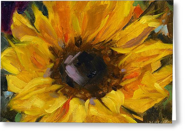Greeting Card featuring the painting Sold Flower Power by Nancy  Parsons