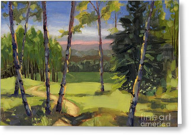 Greeting Card featuring the painting Sold - Grass Is Always Greener by Nancy  Parsons