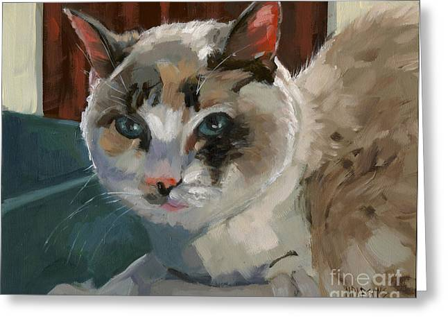 Greeting Card featuring the painting Sold -nelly Logan by Nancy  Parsons