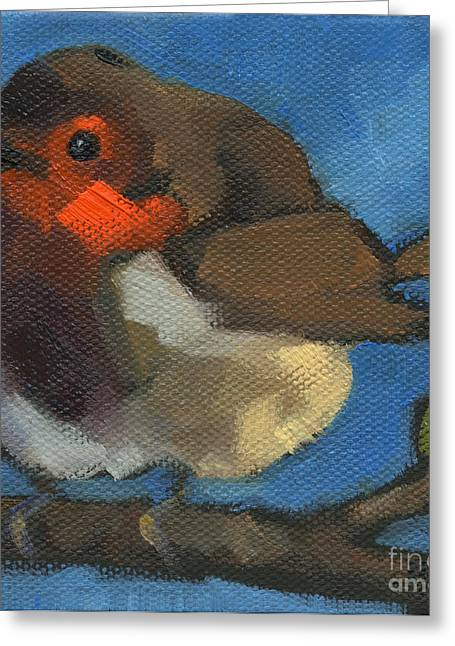 Greeting Card featuring the painting Sold - Rock'n Baby Robin by Nancy  Parsons