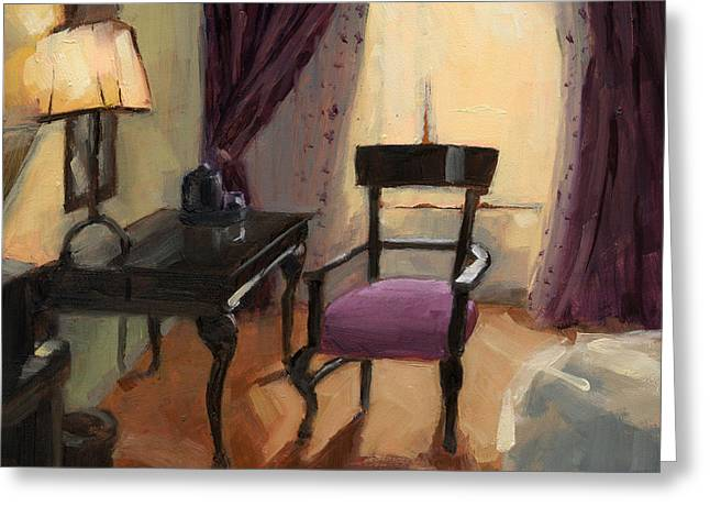 Greeting Card featuring the painting Sold - Room Service  by Nancy  Parsons
