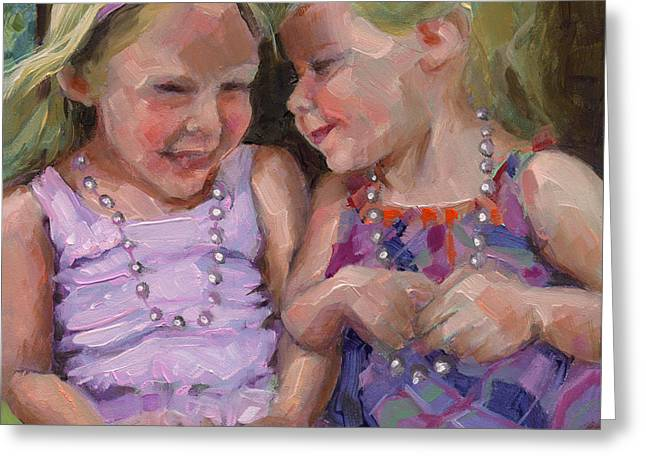 Greeting Card featuring the painting Sold Silly Sister Secrets by Nancy  Parsons