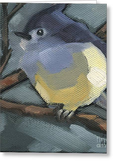 Greeting Card featuring the painting Sold Titmouse Camo by Nancy  Parsons
