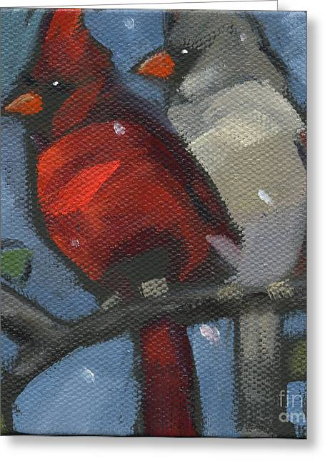 Greeting Card featuring the painting Sold We Are Family by Nancy  Parsons