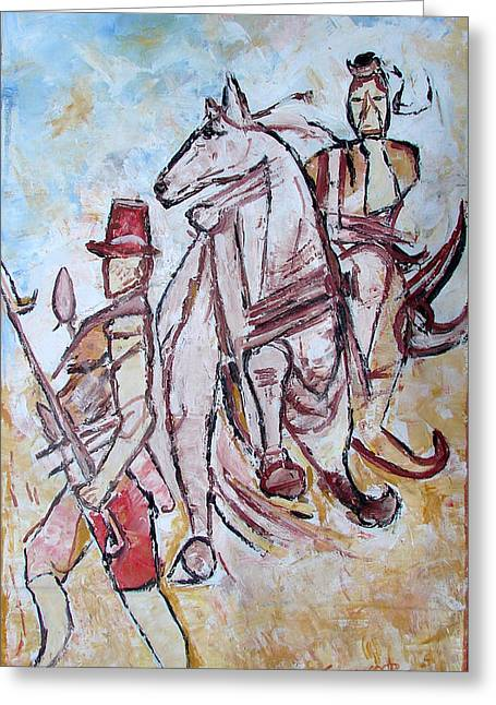 Greeting Card featuring the painting Solder And Horse by Anand Swaroop Manchiraju