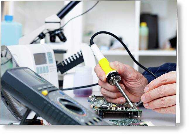 Soldering Equipment And Electronic Parts Greeting Card