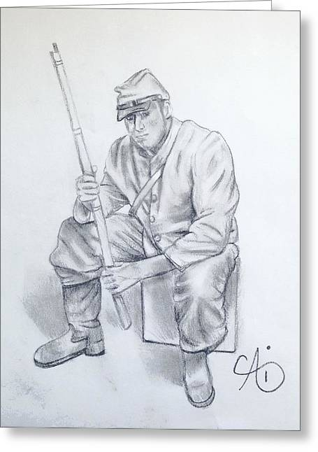 Waiting Soldier Greeting Card