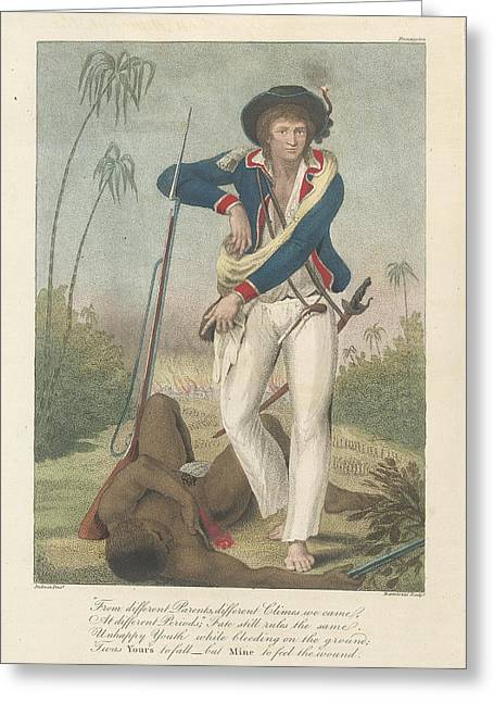 Soldier And A Dead Native Greeting Card by British Library