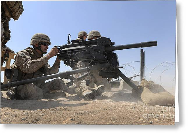 Soldier Fires A Mk 19 Grenade Launcher Greeting Card