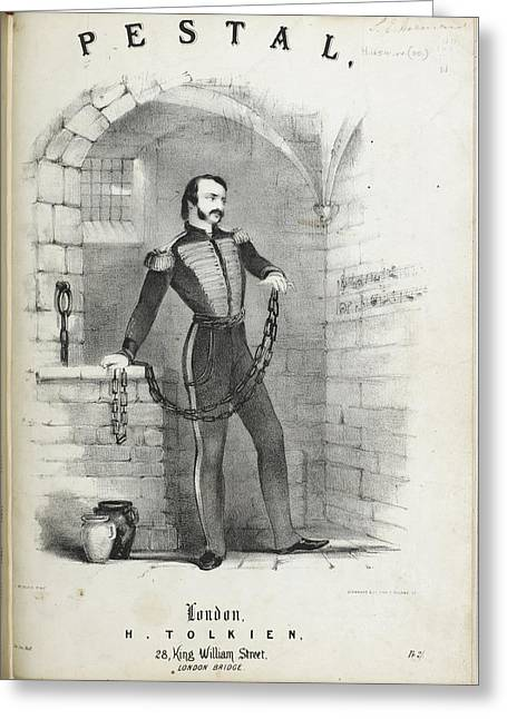 Soldier In Chains In A Prison Cell Greeting Card by British Library