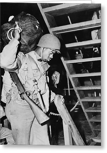 Soldier In His Quarters Aboard A Troop Greeting Card by Stocktrek Images
