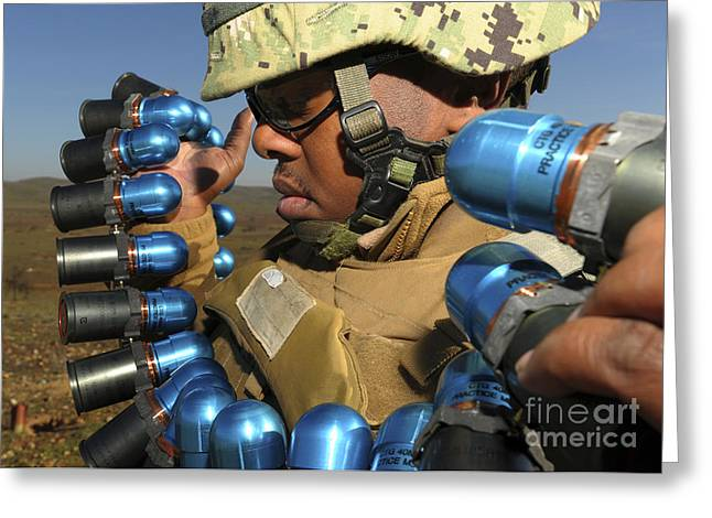 Soldier Readies 40mm Grenades To Fire Greeting Card by Stocktrek Images